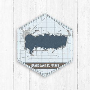 Grand Lake St Marys Ohio Hexagon Map Print
