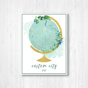 Custom Map Street Map Watercolor Globe