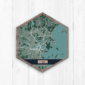 Boston Massachusetts Hexagon Street Lake Print
