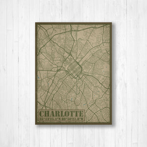 Charlotte North Carolina City Street Map Print