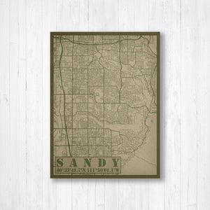 Sandy Utah City Street Map Print