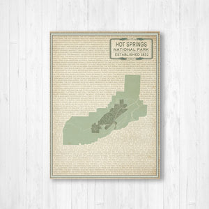 Hot Springs National Park Street Map Print