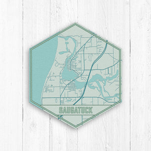 Saugatuck Michigan Hexagon City Street Map