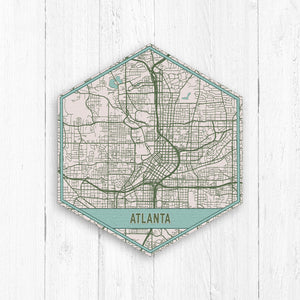 Atlanta Georgia Hexagon City Street Map Print