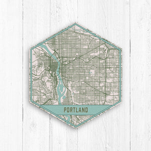 Portland Oregon Hexagon Map Print