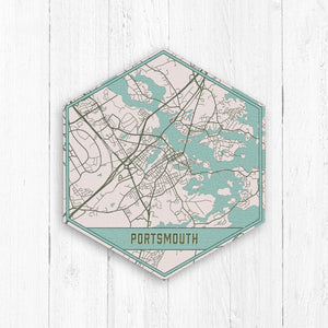 Portsmouth New Hampshire Hexagon Street Map Print