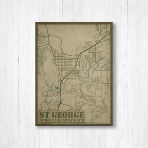 St George Utah City Street Map Print