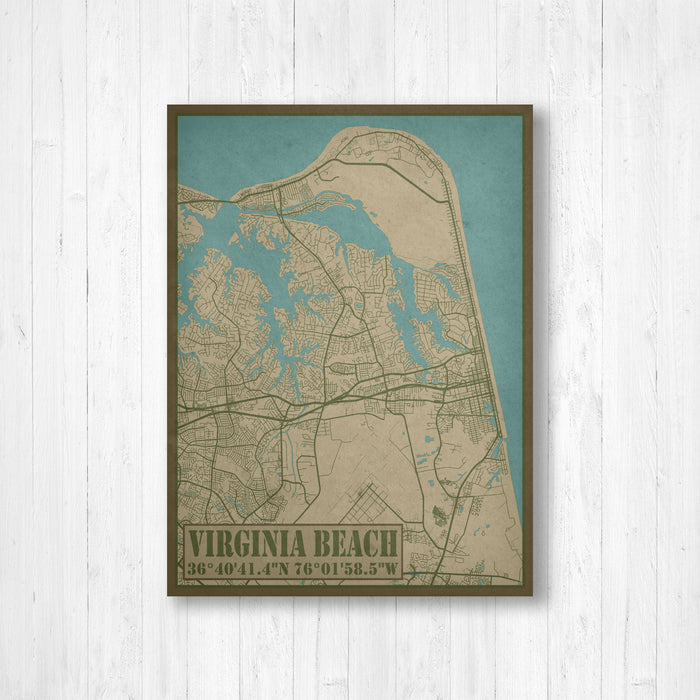 Virginia Beach City Street Map Print