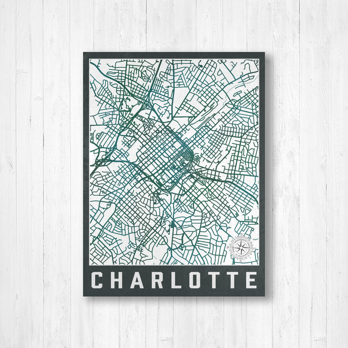 Charlotte North Carolina Urban City Street Map