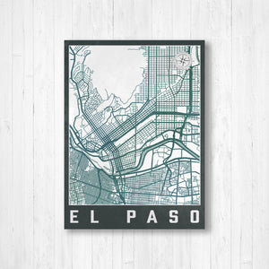 El Paso City Street Map Print