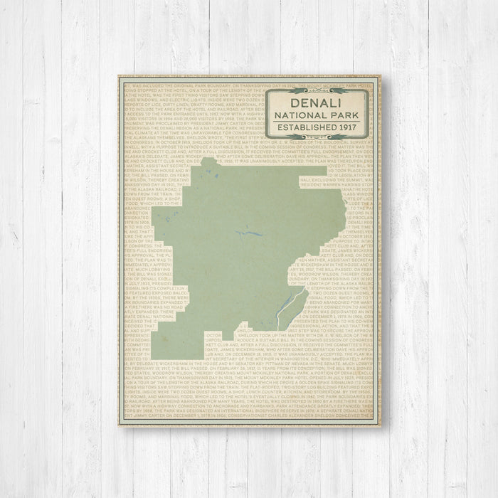 Denali National Park Map Print