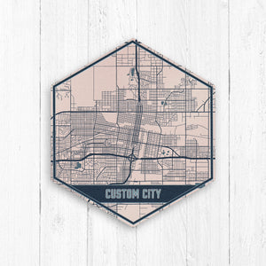 Custom Hexagon City Street Map