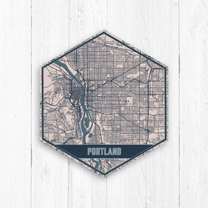 Portland Oregon Hexagon Street Map Print