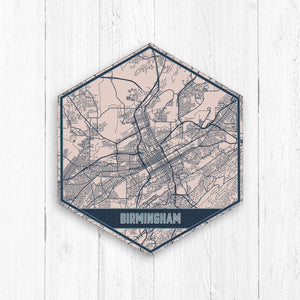 Birmingham Alabama Hexagon City Street Map Print