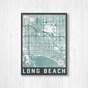 Long Beach California City Street Map Print