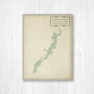 Shenandoah National Park Street Map Print