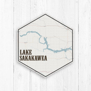 Lake Sakakawea Hexagon Canvas: Vintage