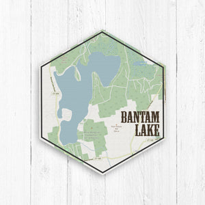Bantam Lake Hexagon Canvas Street Map
