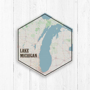 Lake Michigan Hexagon Canvas: Nautical
