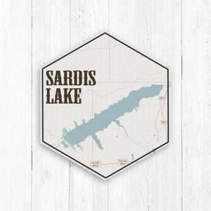 Sardis Lake Hexagon Map Canvas Print