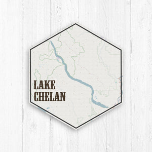 Lake Chelan Washington Hexagon Canvas