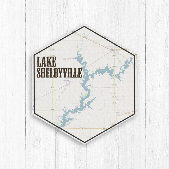 Lake Shelbyville Illinois Hexagon Canvas