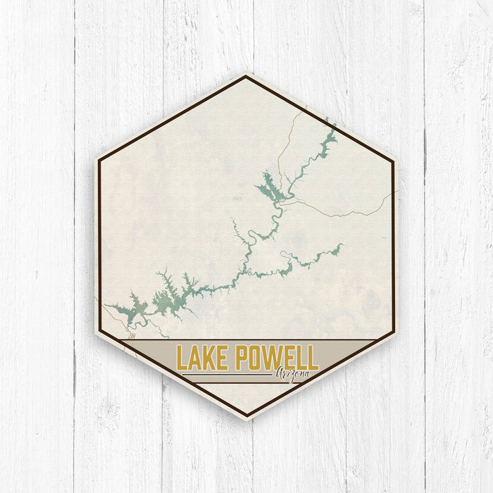 Lake Powell Arizona Hexagon Canvas: Antiqued