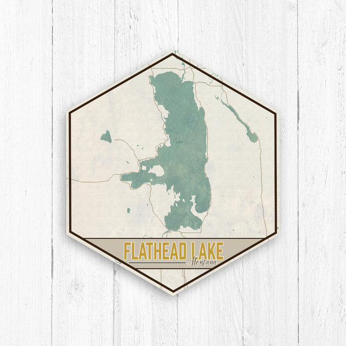 Flathead Lake Montana Hexagon Map Canvas