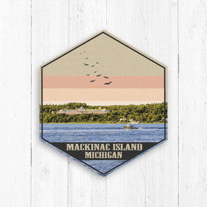Mackinac Island Michigan Hexagon Illustration