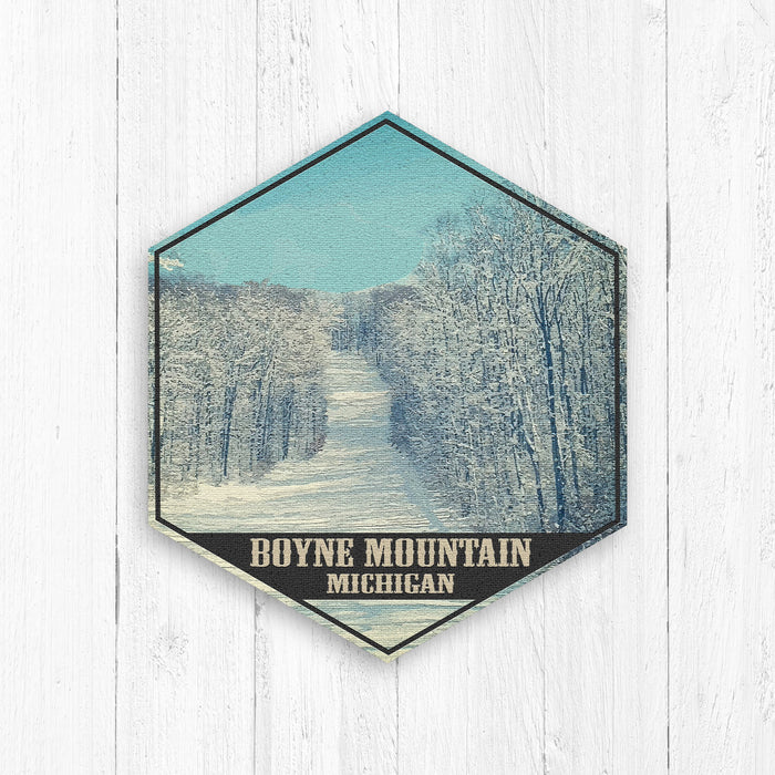 Boyne Mountain Michigan Hexagon Illustration Print