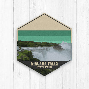 Niagara Falls State Park Illustration Hexagon Canvas