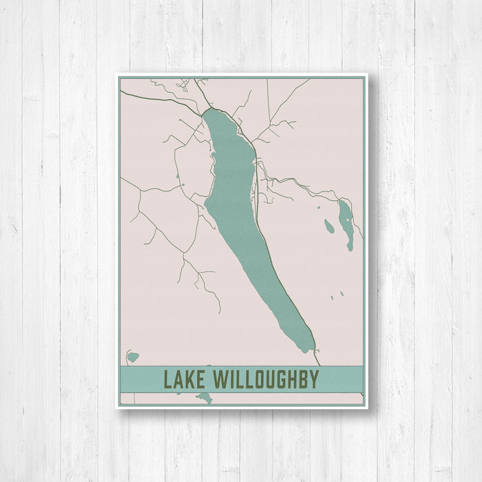 Lake Willoughby Vermont Map Print