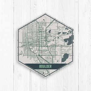 Boulder Colorado Hexagon City Street Map