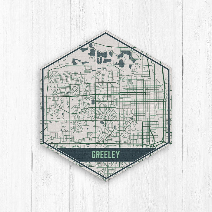 Greeley Colorado Hexagon Street Map