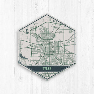 Tyler Texas Street Map Hexagon Print