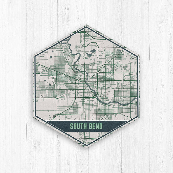 South Bend Indiana Hexagon City Street Map