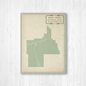 Mesa Verde National Park Map Print