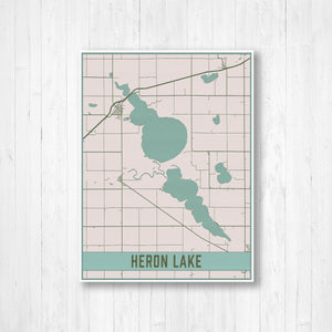 Heron Lake Minnesota Map Print