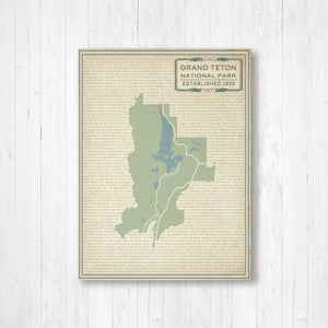 Hanging Canvas Map of Grand Teton National Park by Printed Marketplace