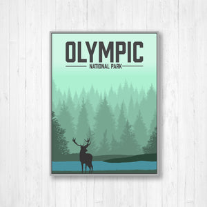Olympic National Park Modern Illustration Print
