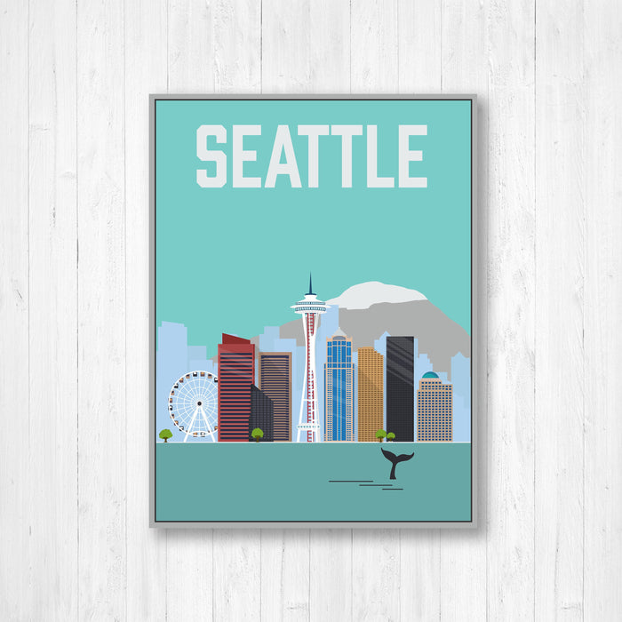 Seattle Washington Modern Illustration City Print