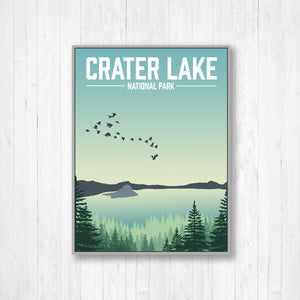 Crater Lake National Park Modern Illustration Print