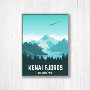 Kenai Fjords National Park Modern Illustration Print