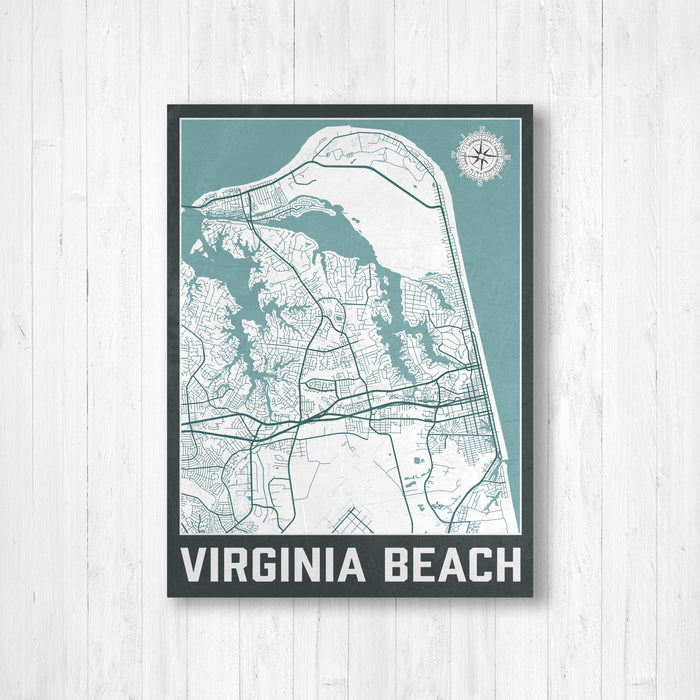 Virginia Beach Urban City Street Map Print