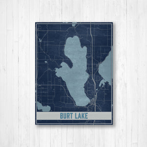 Burt Lake Michigan Map Print