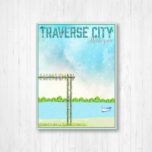 Traverse City Michigan City Street Map Print