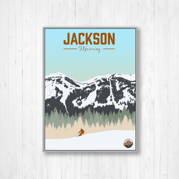 Jackson Hole Ski Illustration