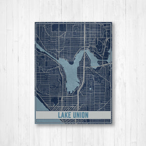 Lake Union Washington Map Print