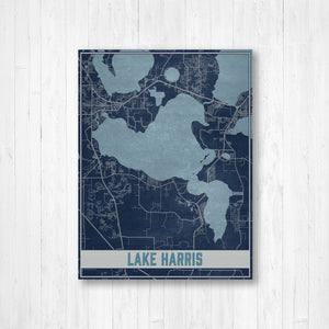 Lake Harris Florida Map Print: Blueprint