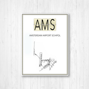 Schiphol Amsterdam Airport Map Print